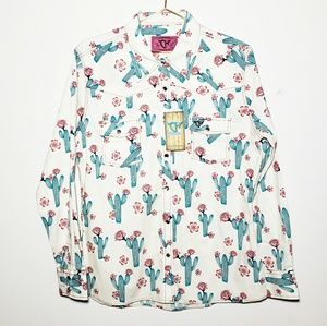 Cowgirl Hardware Catus And Rose Snap Shirt • Sz M
